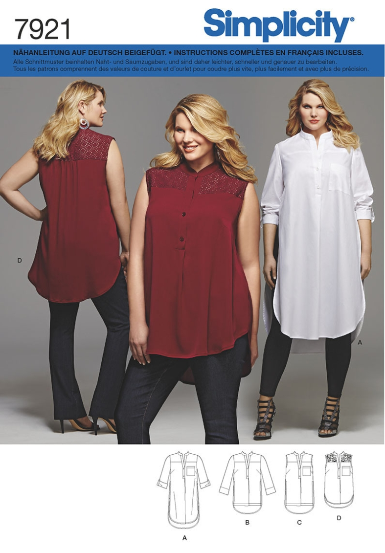 7921 Bluse, Blusenkleid, Plus, Simplicity | Blusen | Schnittmuster ...
