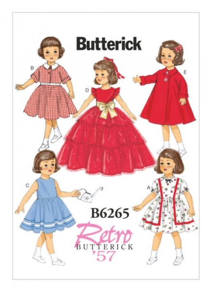 B6265 Retro Mantel Kleid Puppe Jackett, Butterick