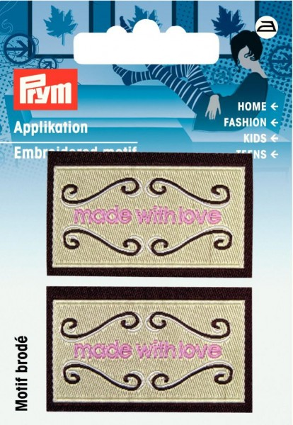 Applikation Label made with love beige/braun