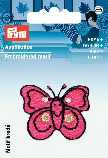 Applikation Schmetterling pink