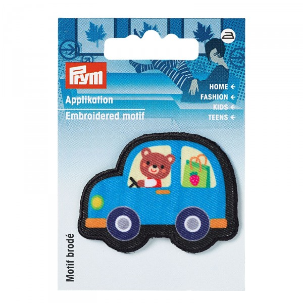 Applikation Auto schwarz/blau