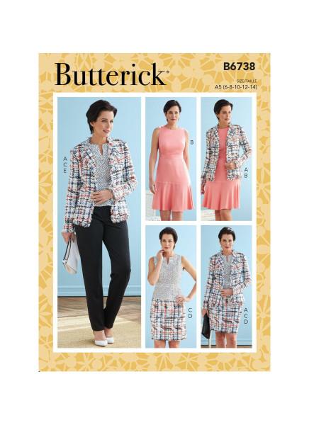 B6738 Damen Shirt Top Hose Kleid Jackett, Butterick