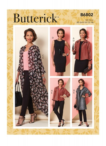B6802 Damen Hose Kleid Jackett, Butterick