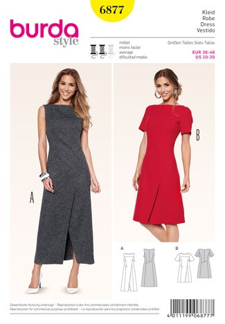 6877 Kleid, Wickeleffekt, interessante, Burda