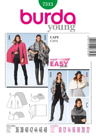 7313 Cape, Strick, Fake Fur, Burda