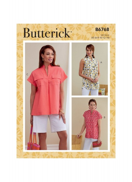 B6768 Damen Tops, Butterick