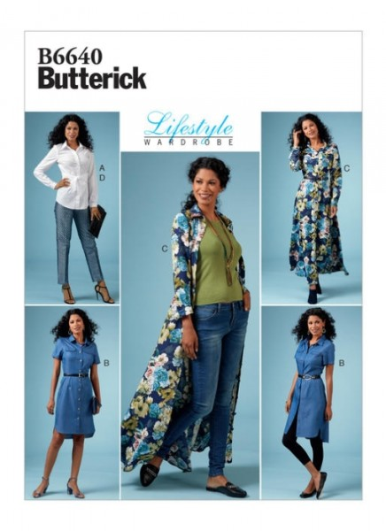 B6640 Damen Top Hose Kleid, Butterick