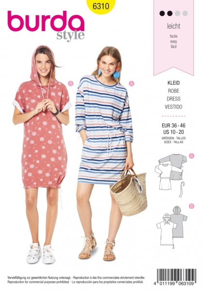 6310 Kurzärmliges Shirtkleid, Burda