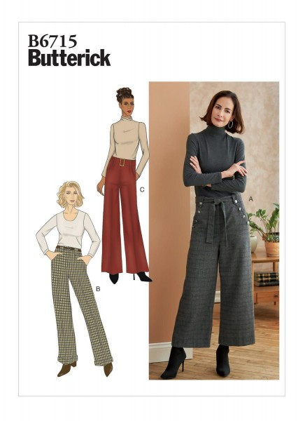 B6715 Damen Hose Gürtel Schärpe, Butterick