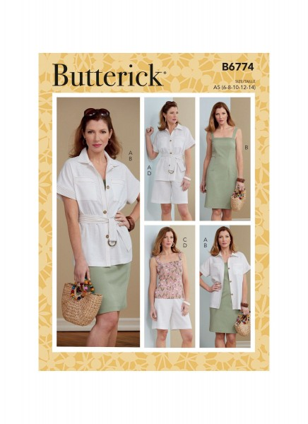 B6774 Damen Top Shorts Gürtel Kleid Jackett, Butterick